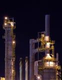 Detail einer Raffinerie nachts 5 Lizenzfreie Stockbilder