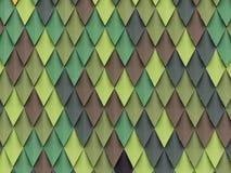 Detail einer Rautenfassade in den unterschiedlichen grünen Abstufungen und im Braun Lizenzfreie Stockfotos