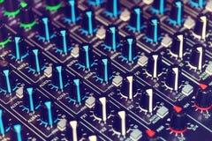 Detail eines Audiomischers Stockfotografie