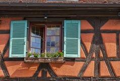 Detail eines elsässischen Hauses Stockfoto