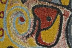 Detail eines gemalten Wandgemäldes Stockbild