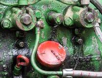 Detail eines historischen Motors des Traktoralten hasen Stockfotos