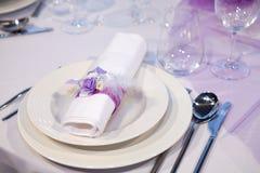 Detail eines Hochzeitsabendessens Stockbild
