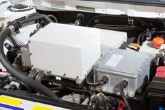 Detail eines Motors des elektrischen Autos stockfotografie