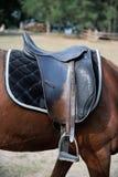 Detail eines Pferdesattels Stockfoto