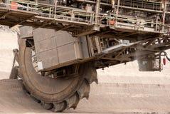 Detail eines sehr großen Schaufelradbaggers Stockbild