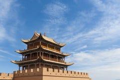 Detail eines Turms des Jiayuguan-Forts nahe der Stadt von Jiayuguan in der Gansu-Provinz stockbild