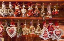 Detail eines Weihnachtsmarkt-Stands Stockbild