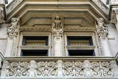 Detail of elaborate mansion. In downtown boston Stock Photos