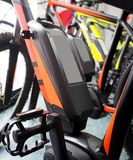 Detail of an electric bicycle battery , or e-bike, in a mountain bike store. stock images