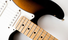 Detail of electric guitar neck and body Royalty Free Stock Image