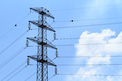 Detail of electricity pylon against Stock Photography