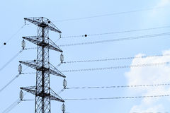 Detail of electricity pylon against Royalty Free Stock Photography