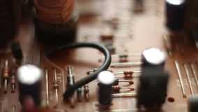 Detail of an electronic printed circuit board stock video footage