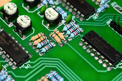 Detail of an electronic printed circuit board Stock Photography