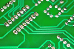 Detail of an electronic printed circuit board Royalty Free Stock Photo