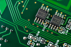 Detail of an electronic printed circuit board Stock Images
