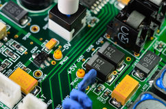 Detail of an electronic printed circuit board Royalty Free Stock Photography