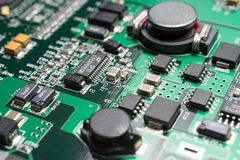Detail of an electronic printed circuit board Stock Photo