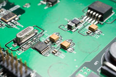Detail of an electronic printed circuit board Royalty Free Stock Photos
