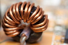 Detail of an electronic printed ferrite ring. Pc Stock Photos