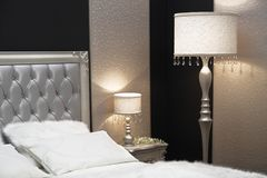 Detail of elegant bedroom nightstand Stock Photography