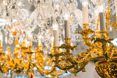 Detail of the elegant chandeliers Stock Photo