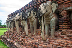 Detail of elephants at Wat Srosak temple ruin Royalty Free Stock Photography