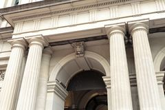 Melbourne – General Post Office Entrance. Detail of the Elizabeth Street entrance of the Melbourne, Australia, GPO building, and its Tuscan columns Stock Photos