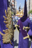 Detail of embroidery and tassel in a Purple banner, traditional Royalty Free Stock Image