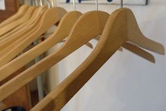 Detail of empty coat hangers on a line Stock Photography