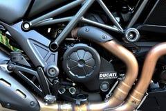 Detail engine of a sport bike Ducati Diavel motorbike. Royalty Free Stock Photos