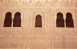 Detail Engraving Wall. Detailed engraving in a wall at the Alhambra Palace, Granada, Spain Stock Image