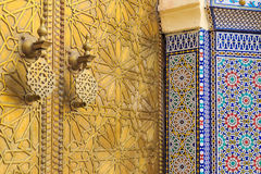 Detail of the entrance door of the Royal palace in Fes Marocco Royalty Free Stock Image