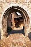 Detail of entrance into loket castle. Gothic castle in bohemia - czech republic Royalty Free Stock Photo