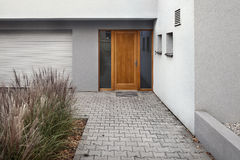 Detail of entrance to a new house Stock Image