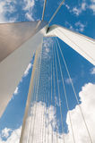 Detail of Erasmus bridge with blue sky in Rotterdam, The Netherl Stock Images
