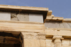 Detail from the Erechteion, Acropolis, Athens, Greece. A column. Capital of the Ionic order Royalty Free Stock Images