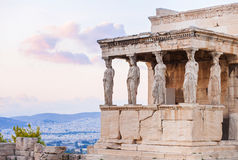 Detail of Erechtheion in Acropolis of Athens, Greece. Ancient Greece, view of Erechtheion in Acropolis of Athens Royalty Free Stock Image