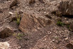Erosion of geological structures in zachelmie quarry royalty free stock images