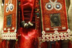 Detail of ethnic minorities costume. Detail of traditional ethnic minorities costume in china royalty free stock image