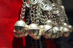 Detail of ethnic minorities neckless. Detail of red ethnic minorities costume and silver traditional neckless from china royalty free stock photography