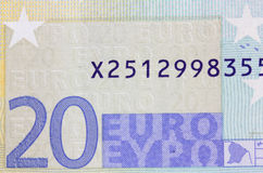 Detail of 20 euro banknote. Stock Photography