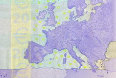 Detail of 20 euro banknote.. Stock Photography