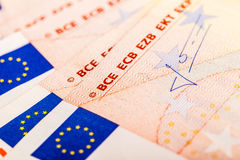 Detail of euro banknotes. Detail of some 50 euro banknotes with the flag of the european union Royalty Free Stock Photos