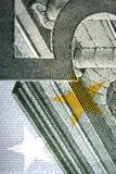 Detail euro money. Detail of euro biljet 5 money Stock Photo