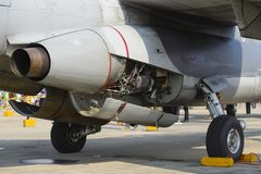 Detail of exhaust of military aircraft Royalty Free Stock Photography