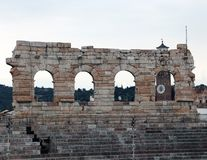 Detail of the exterior of the Arena in Verona City Royalty Free Stock Photos