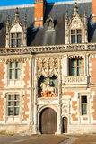 Detail of the exterior of the Chateau de Blois, France. The chateau de Blois: the facade of the Louis XII wing. This old Royal palace is located in the Loire stock photography