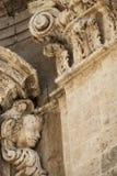 Detail of the exterior facade of a Baroque church in Salento - Italy. Detail of the exterior facade of a Baroque church in the Salento with an angel - Salento Royalty Free Stock Photo